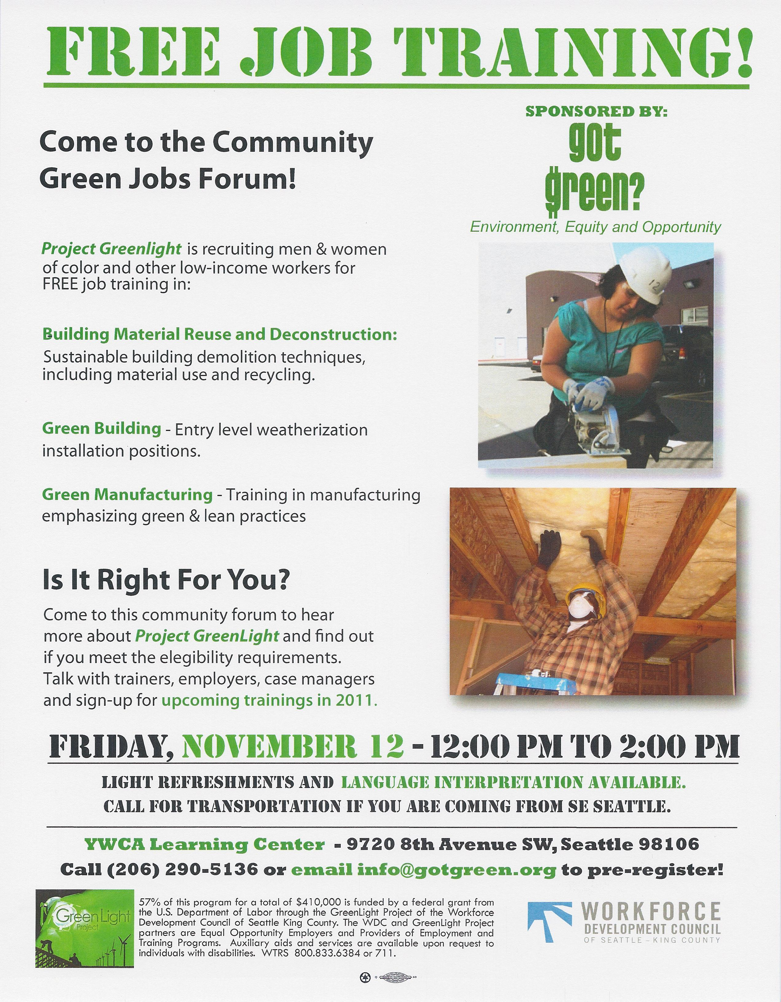 Community Green Jobs Forum in White Center, November 12!